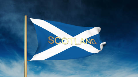 Scotland flag slider style with title. Waving in the wind with cloud background  Animation