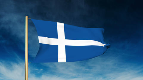 Shetland flag slider style. Waving in the win with cloud background animation Animation