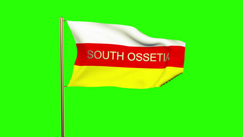 South Ossetia flag with title waving in the wind. Looping sun rises style. Anima Animation