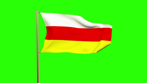South Ossetia flag waving in the wind. Green screen, alpha matte. Loopable anima Animation