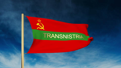 Transnistria flag slider style with title. Waving in the wind with cloud backgro Animation