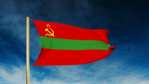 Transnistria flag slider style. Waving in the win with cloud background animatio Animation