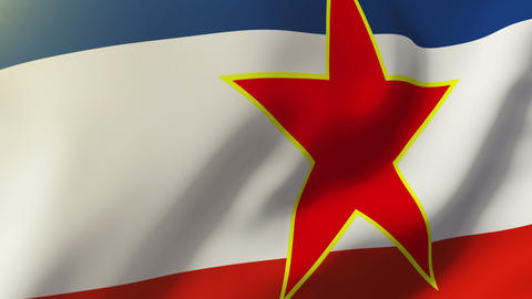 Yugoslavia flag waving in the wind. Looping sun rises style. Animation loop Animation