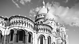 sacre coeur, montmatre paris france, bw Footage