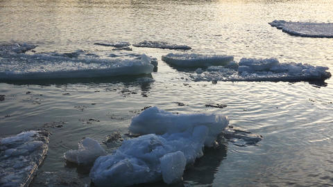 Ice Floe Floats In Water. 4K stock footage