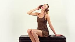 sexy gogo dancer dancing headphones Footage