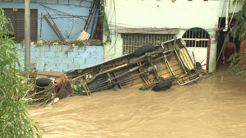 Destroyed Vehicle In Deadly Flood Waters In Manila Philippines Live Action