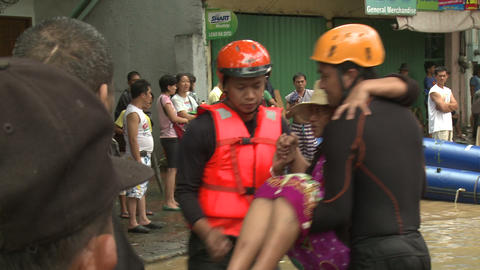 Elderly Woman Rescued From Flood Waters Manila Philippines Footage