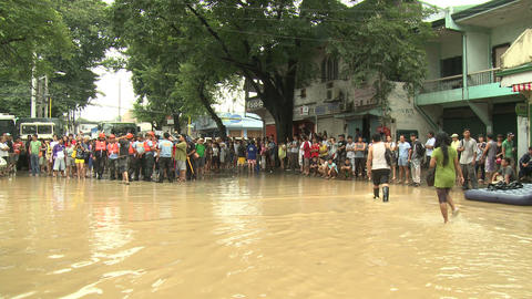 Filthy Flood Waters In Residential Area Of Manila Philippines stock footage