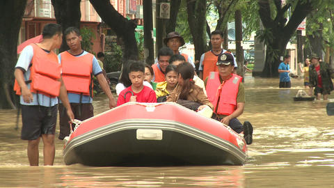 Rescue Team In Flood Crisis Manila Philippines Footage