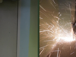 Two Angle Grinder In Action stock footage