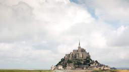 mont saint michel france tourist cathedral timelapse Footage