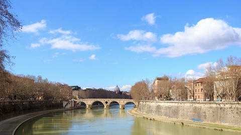 Bridge on the River Tiber systems. Rome, Italy. TimeLapse. 1280x720 Footage