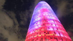 torres agbar barcelona skyscraper architecture building city iconic landmark Footage