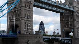tower bridge london skyline city urban river thames Footage