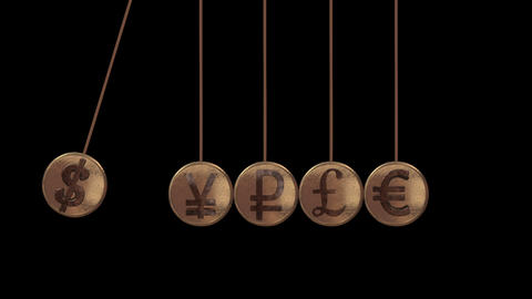 Balancing Balls, Newton's Cradle, Currency Sign stock footage