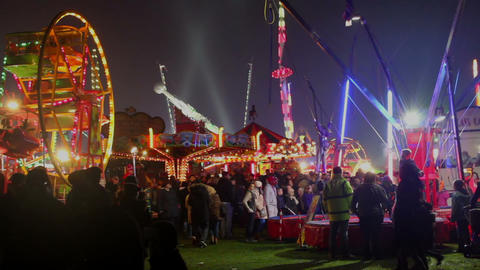 Panorama Of Crowdy Luna Park At Night stock footage