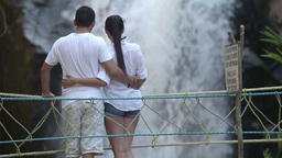 Waterfall Couple Nature Outdoors Relationship Bridge stock footage