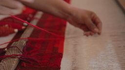 weaving traditional mexican carpet Footage