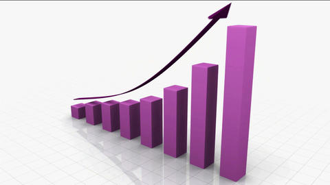 Growing Bar Graph / Chart W. ARROW stock footage