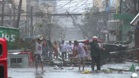 Survivors In Devastated Streets Tacloban After Typhoon Haiyan Footage