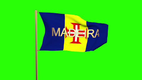 Madeira flag with title waving in the wind. Looping sun rises style. Animation l Animation