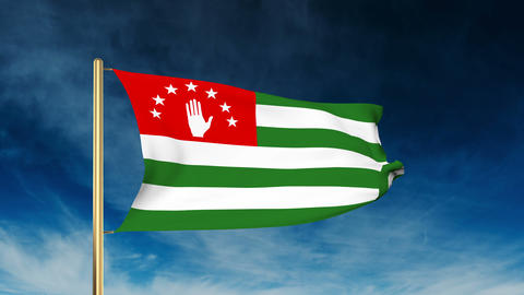 Abkhazia flag slider style. Waving in the win with cloud background animation Animation