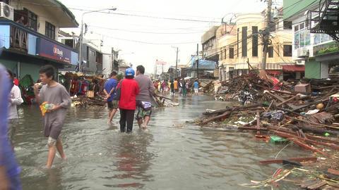Survivors In Devastated Streets Tacloban After Typhoon Haiyan Footage