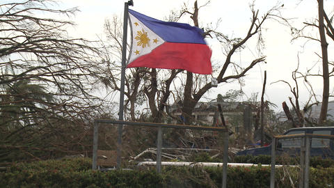 Philippines Flag Flies In Destruction Typhoon Haiyan Aftermath Footage