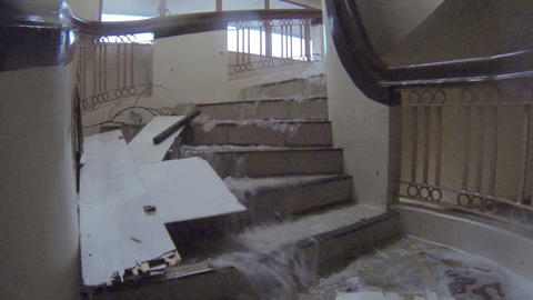 Flood Water Flows Down Staircase Typhoon Haiyan Tacloban Footage