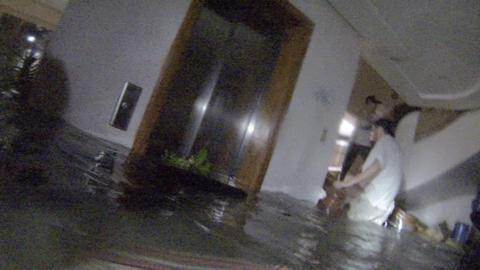 Storm Surge Floods Hotel Typhoon Haiyan stock footage