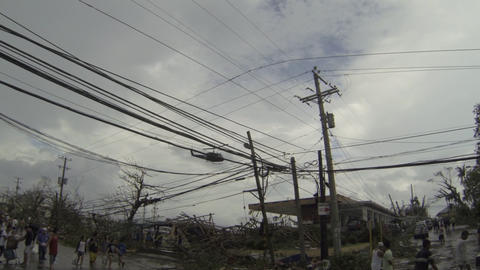 Military Helicopter Flies Over Devastated Tacloban After Typhoon Haiyan stock footage