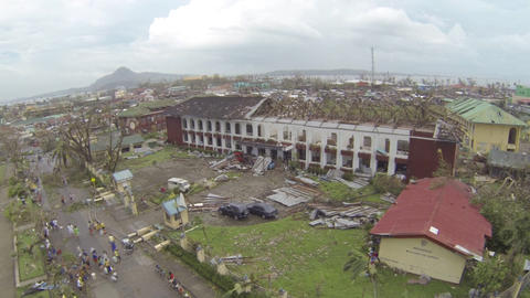 Helicopter Take Off From Storm Ravaged City Typhoon Haiyan Footage