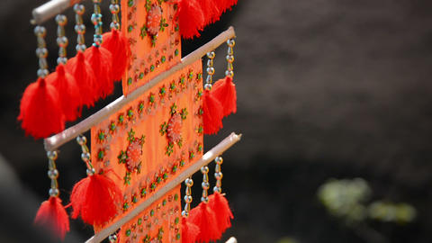 Buddhist Festival Flag Decorated in Shades of Orange Footage