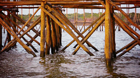 Log Piers and Structural Supports comprise a Local Fishing Harbor in Cambodia Footage