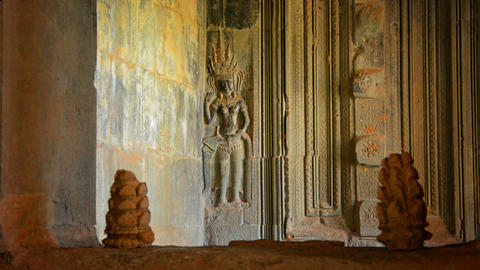 Bas Relief on the Wall of Angkor Wat Footage