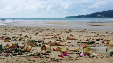 Dirty. Polluted Beach with Trash in Thailand Footage
