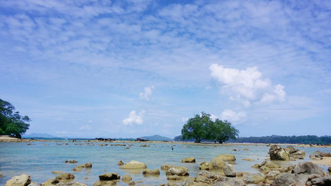 Tropical Thai Beach At Low Tide stock footage