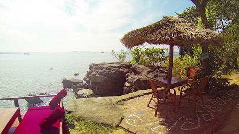 Terrace Overlooking Tropical Cambodian Beach Footage