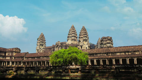 Right to Left Flyby of Angkor Wat in Time-Lapse Footage
