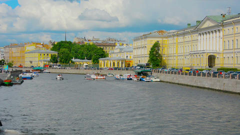 ST. PETERSBURG. RUSSIA - CIRCA JUN 2014: View from the Bridge on the river Footage