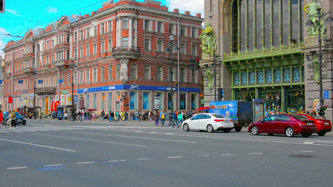 ST. PETERSBURG. RUSSIA - CIRCA JUN 2014: Traffic on Nevsky Prospect Footage