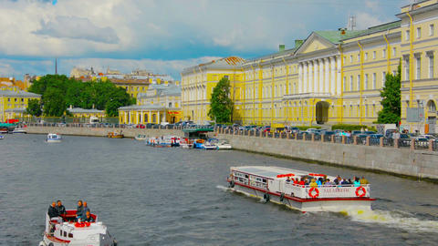 ST. PETERSBURG. RUSSIA - CIRCA JUN 2014: Pleasure Boats On The Fontanka River stock footage