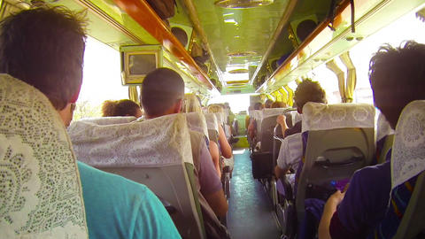 Bumpy Bus Ride In Southeast Asia stock footage