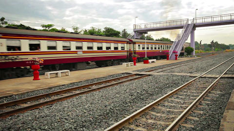 Old Diesel Locomotive Pulling Passenger Train in Thailand Live Action