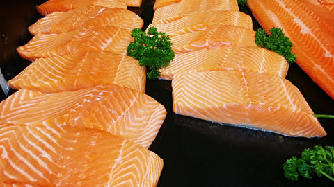 Raw Salmon Fillet Steaks at the Supermarket Footage