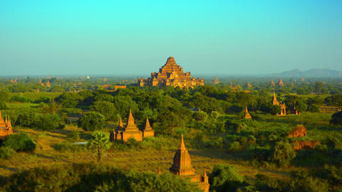 Panoramic Landscape of Ancient Stone Temples in Bagan. Myanmar. Southeast Asia Footage