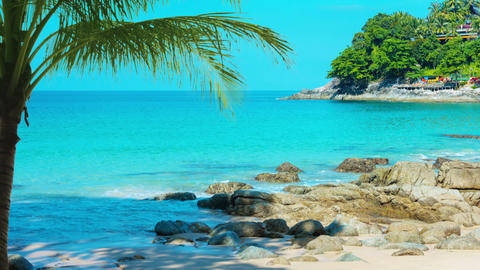 Stunning Tropical Beach on Andaman Sea in Kamala. Phuket. Thailand Live Action