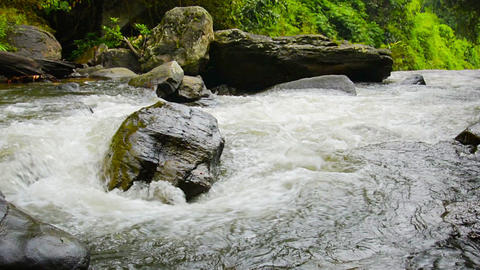 Video - Whitewater Churns and Tumbles toward a Waterfall with Sound Footage