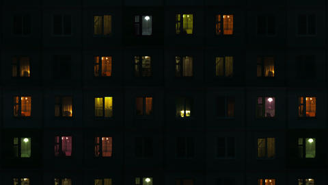 Building Exterior In The Evening With Interior Lights - Abstract Urban Video Bac stock footage